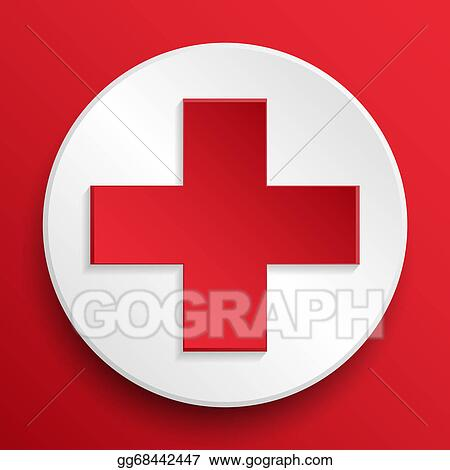 Clip Art Red Cross Medical Button Symbol Stock Illustration