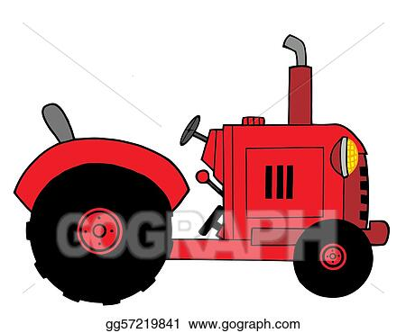 vector art red farm tractor clipart drawing gg57219841 gograph rh gograph com farm tractor clip art free farm tractor clip art black & white