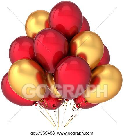Stock Illustration Red Golden Balloons Decoration Clipart
