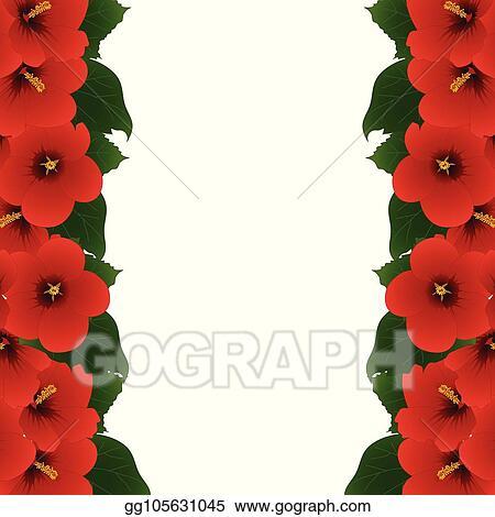 Clip Art Vector Red Hibiscus Flower Rose Of Sharon Border Stock