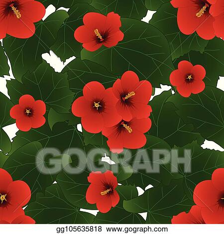 Vector Art Red Hibiscus Syriacus Rose Of Sharon Isolated On