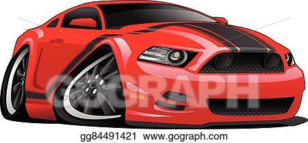 Vector Clipart Red Muscle Car Cartoon Illustration Vector