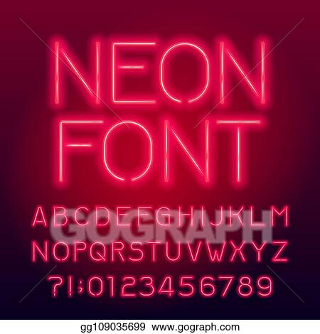 Vector Stock - Red neon tube alphabet font  neon color