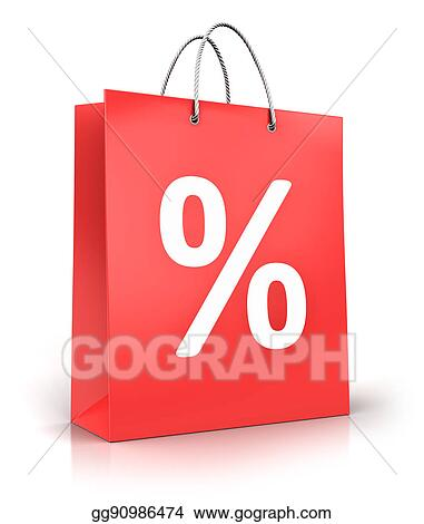 3a6883442c1f Stock Illustration - Red paper shopping bag with percent sign or ...