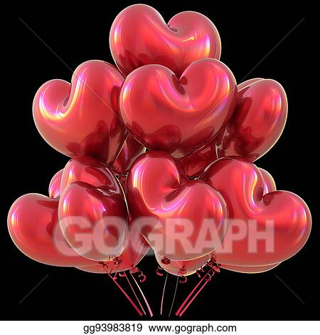Red Party Heart Balloons Happy Birthday Love Event Decoration