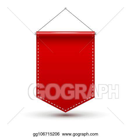 Vector Clipart - Red pennant flag award banner  blank pennant design
