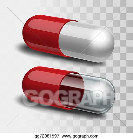 vector illustration red pills with white and transparent stock
