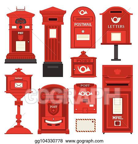Vector Art Red Postboxes And Letterboxes Icons Clipart Drawing Gg104330778 Gograph