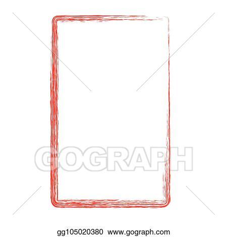 Vector Clipart Red Rectangle Crayon Frame Vector Illustration