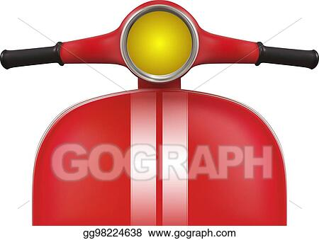 vector stock red retro scooter with white stripes front view clipart illustration gg98224638 gograph red retro scooter with white stripes
