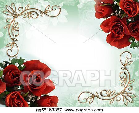 Stock Illustrations Red Roses Border Wedding Invitation Stock