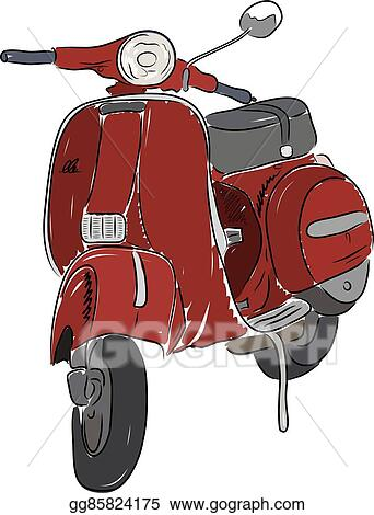 vector art red scooter vector illustration clipart drawing gg85824175 gograph https www gograph com clipart license summary gg85824175