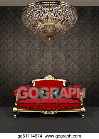 Clipart Red Sofa And Chandelier In Royal Interior Stock
