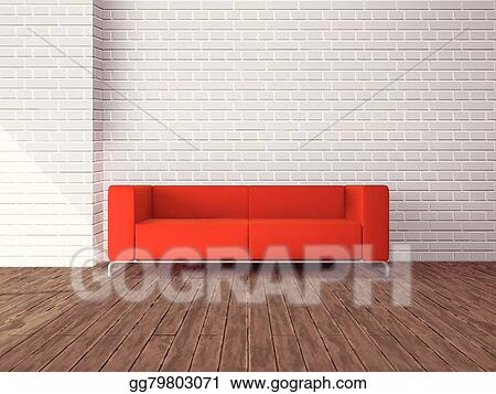 Vector Art Red Sofa In Room Eps Clipart Gg79803071 Gograph