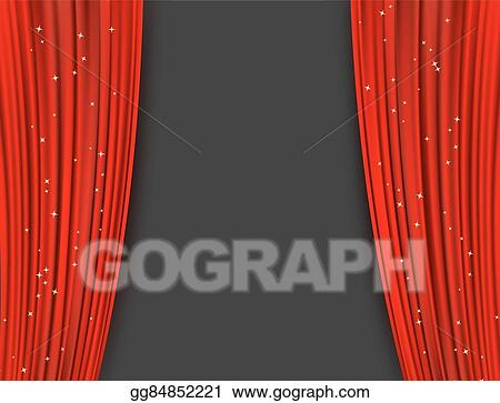 Red Theater Curtains With Glitter Abstract Background Opera Drapes And Glittering Stars Horizontal Vector Illustration