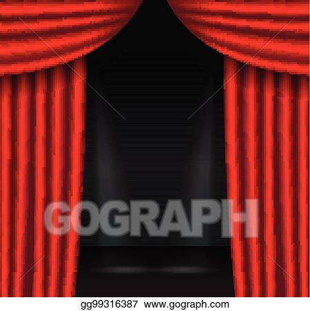 vector clipart red theater curtains with spotlight vector
