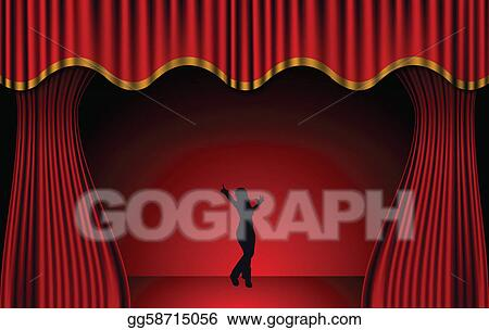 vector clipart red theatre curtains vector vector illustration