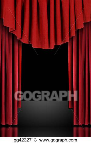 stock photograph red theatre stage draped curtains stock image