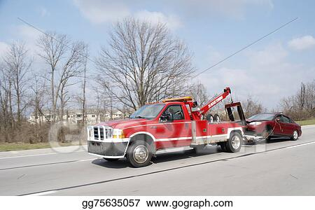 clipart red tow truck towing car stock illustration gg75635057