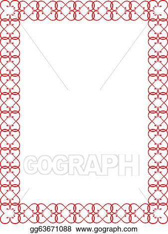 Vector Clipart Red Valentines Day Border Vector Illustration