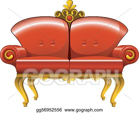 Vector Art Red Vintage Sofa Clipart Drawing Gg56952556 Gograph