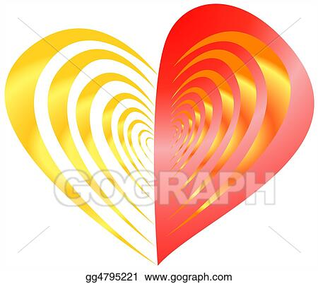 Stock Illustration Red With Gold Half Striped Heart Clipart