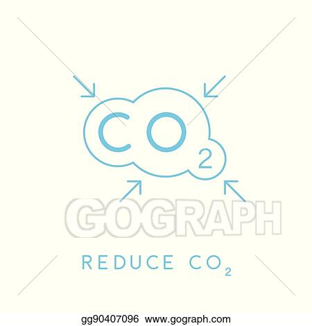 Vector Art Reduce Carbon Co2 Emissions Concept Icon With Cloud