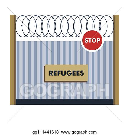 vector clipart refugees fence with wiring border crossing  electricity building materials