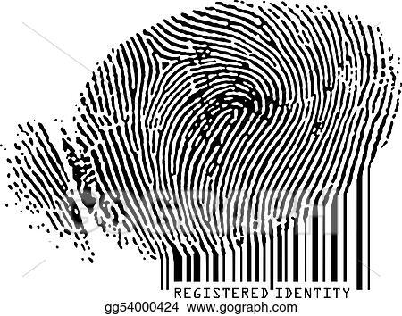 Vector Clipart - Registered identity - fingerprint becoming