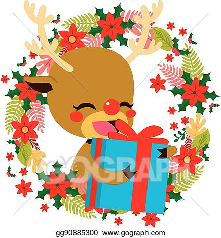 Christmas Giving Clipart.Vector Stock Reindeer Christmas Gift Giving Clipart