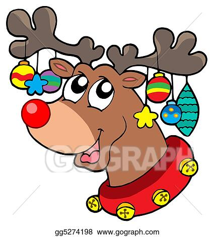 Drawings Of Christmas Decorations.Drawings Reindeer With Christmas Decorations Stock