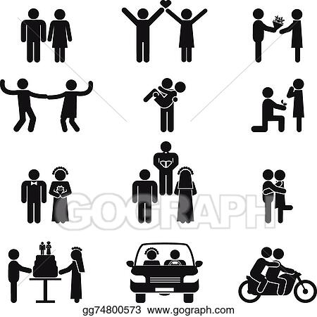 Wedding People Icon Set Showing A Couple Dating In Love Dancing Proposal Kissing Cutting The Cake Car On Honeymoon And Riding Motorcycle