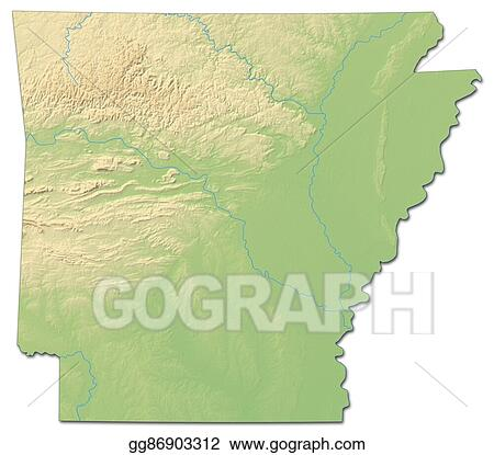 Stock Illustration - Relief map - arkansas (united states) - 3d ...