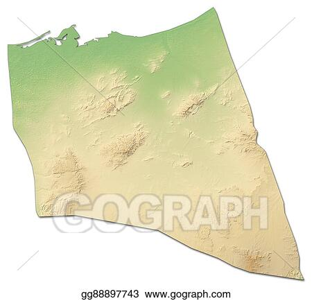 Stock Illustration - Relief map - north sinai (egypt) - 3d-rendering