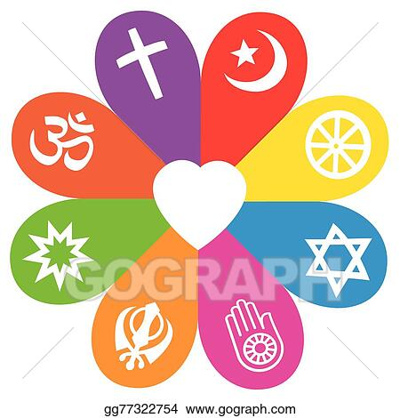 Eps Illustration Religion Symbols Flower Love Colors Vector