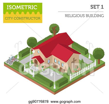Vector Art - Religious architecture  flat 3d isometric