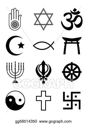 Vector Clipart Religious Symbols Black White Vector
