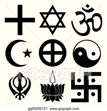 Vector Illustration Religious Symbols From The Top Organised