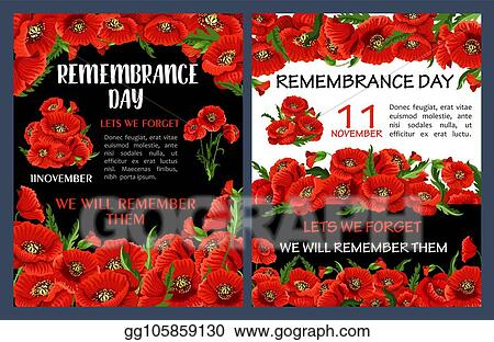 Vector Art Remembrance Day Poster With Red Poppy Flower Frame Eps