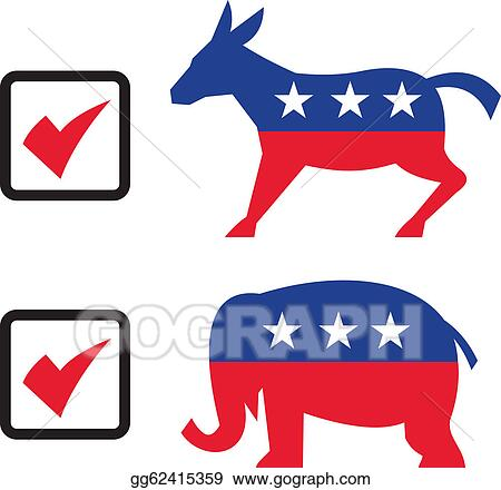 vector illustration republican elephant democrat donkey eelection rh gograph com republican clipart free republican clipart transparent background