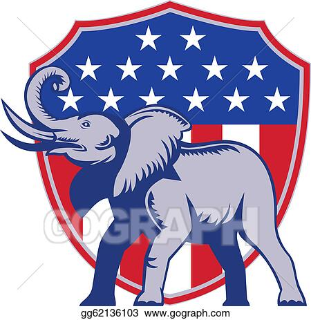 Vector Illustration Republican Elephant Mascot Usa Flag Eps