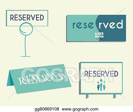 Vector Stock Reservation Sign Mock Up Template Save Water