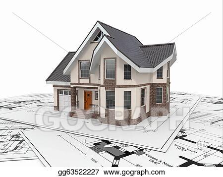 Residential Blueprints   Stock Illustration Residential House On Architect Blueprints