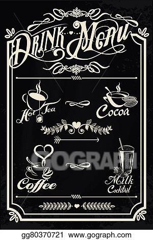 eps illustration restaurant drink menu design with chalkboard