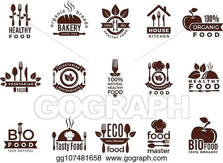Vector Illustration Restaurant Logo Food Manufacture Vintage Labels For Kitchen Eco Fresh Healthy Cooking House Vector Badges Template Stock Clip Art Gg107481658 Gograph