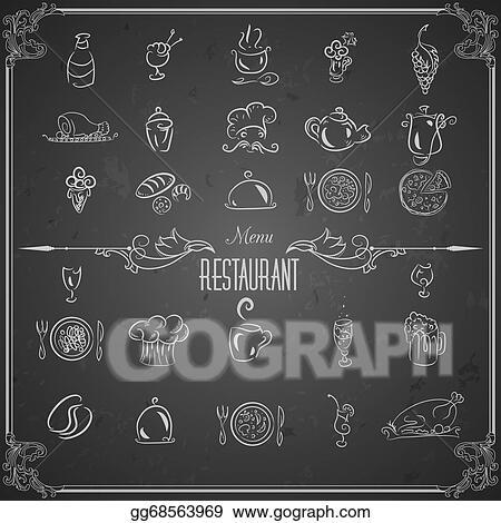 Vector art restaurant menu design elements with chalk for Artistic cuisine menu