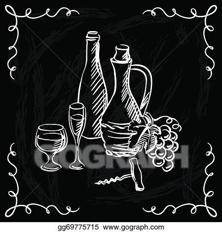 vector art restaurant or bar wine list on chalkboard background