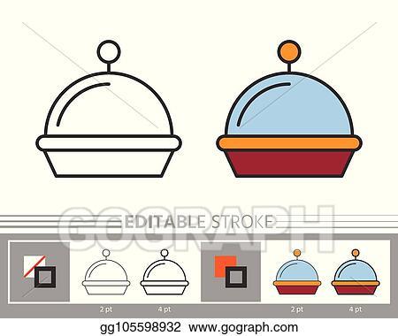 Clip Art Vector Restaurant Serving Tray Cloche Linear Icon
