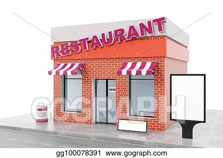 Restaurant Store With Copy Space Board Isolated On White Background Modern Shop Buildings Facades Exterior Market Facade Building