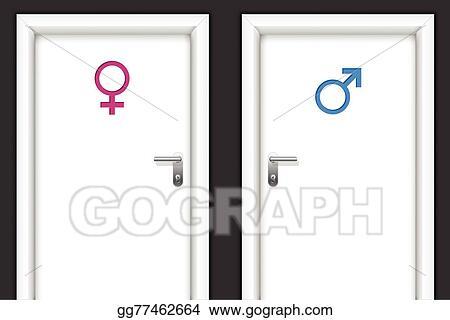 Vector Clipart Restroom Doors With Gender Symbols Vector